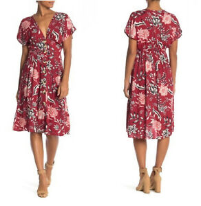 NWT-Angie-Button-Red-V-Neck-Floral-Flutter-Sleeve-Summer-Fall-Midi-Dress-S-M-L