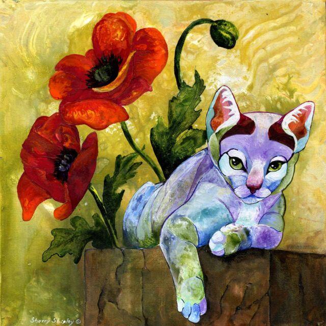 SHEBA Original  CAT W/ POPPIES Art Painting Sherry Shipley