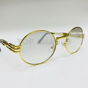 140b81408e6 Gold Metal Oval Frame Designer Clear Lens Men Women Migos Eyeglasses ...