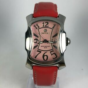 Pastorelli Womens Swiss Movement Analog Quartz Wristwatch Pink Leather Band
