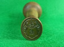 """Antique Copper & Wood Ouroboros Armorial """"R"""" Wax Seal Stamp"""