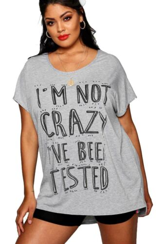 Womens Printed Slash Neck Oversized Baggy Top Ladies Off Shoulder Bardot T Shirt