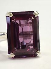 18x13mm Sterling 925 Silver Cocktail Ring Rectan SYN Alexandrite-color Gem Stone