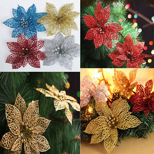 New-Christmas-Flowers-Xmas-Tree-Decoration-Glitter-Hollow-Wedding-Party-Decor-MD