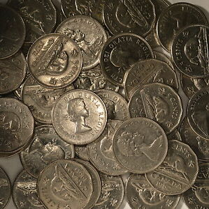 Collection of 40 Canada Nickels 5 Cents Coins From King George V era.