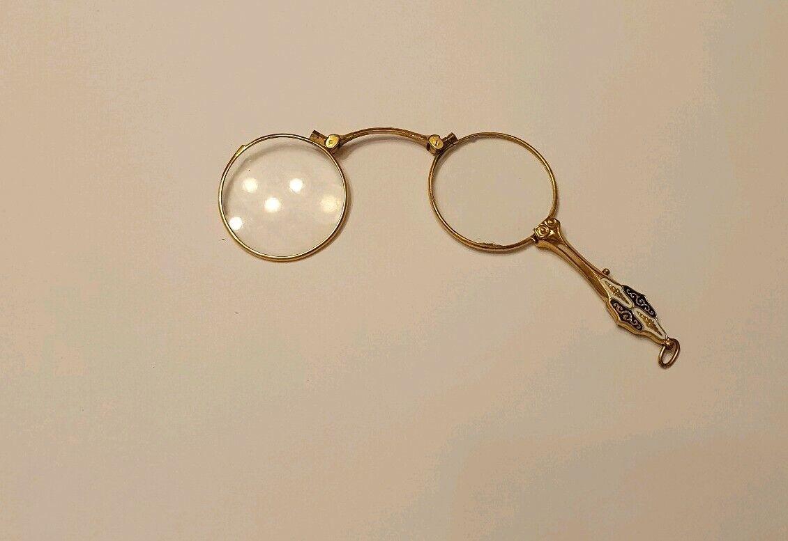 Antique Lorgnon Lorgnette Gold Plated Enamel Folding Glasses IN Case Art Deco Um