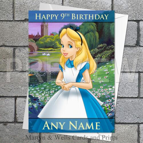 Disney. 5x7 pouces Alice au pays des merveilles personnalisé de carte d/'anniversaire