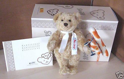 Steiff Teddybär mit Rackerplan 30 cm Mohair -neu u. ovp