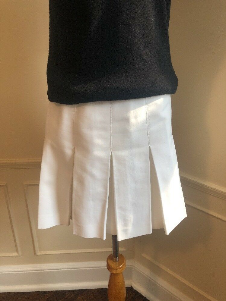 RALPH LAUREN White Cotton Pleated Mini Skirt  4  695