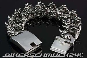 Drachenkopf-Armband-mit-22-Dragon-Heads-Mammut-Groesse-XXL-extra-schwer-Edelstahl