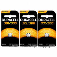 3 X 301/386 Duracell Button Cell Batteries (sr43w, Sr43sw, Sp301, Sp386, Ws10)
