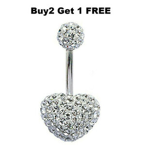 Belly-Bars-Navel-Button-Bar-Body-Piercing-Jewellery-UK-Clear-Gem-Heart-Shamballa