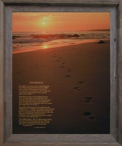 Footprints Poster in the Sand Motivational Wall Decor Framed Picture Art 19x23