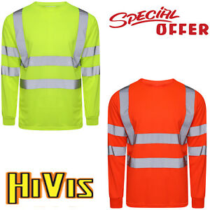 Hombres-Hi-Viz-Vis-Alta-Visibilidad-de-manga-larga-top-de-trabajo-de-seguridad-de-cinta-reflectante