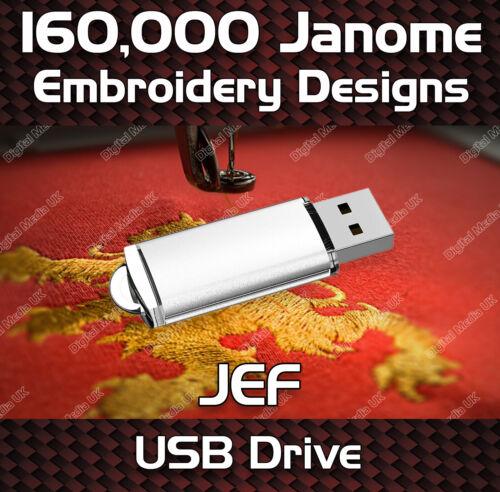 160,000 Janome embroidery pattern design files JEF on USB drive