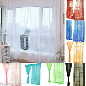 Pure Color Transparency Gauze Door Window Curtain For