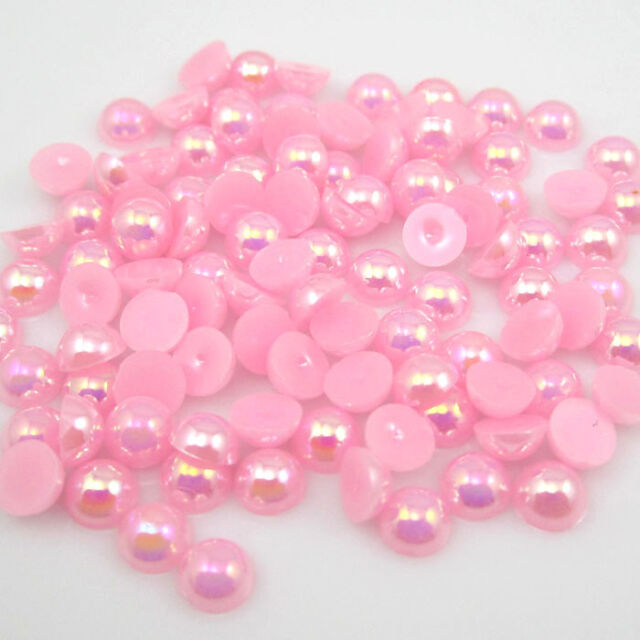 NEW 400pcs pink AB Half Pearl Bead Flat 3mm Scrapbook Craft Flat Back beads 05