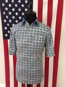 vtg-70s-Argyle-Blue-Soft-amp-Thin-Polo-Shirt-men-039-s-LT-large-tall-Vaporwave-18972
