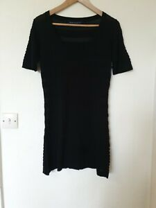 French-Connection-Negro-Tejido-Jumper-Vestido-Talla-12