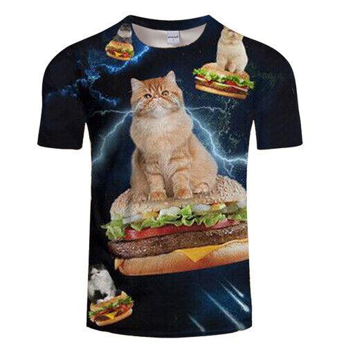 Hot Fashion 3D Print Funny Cat Ride Burger Women Men TShirt Short Sleeve Tee Top
