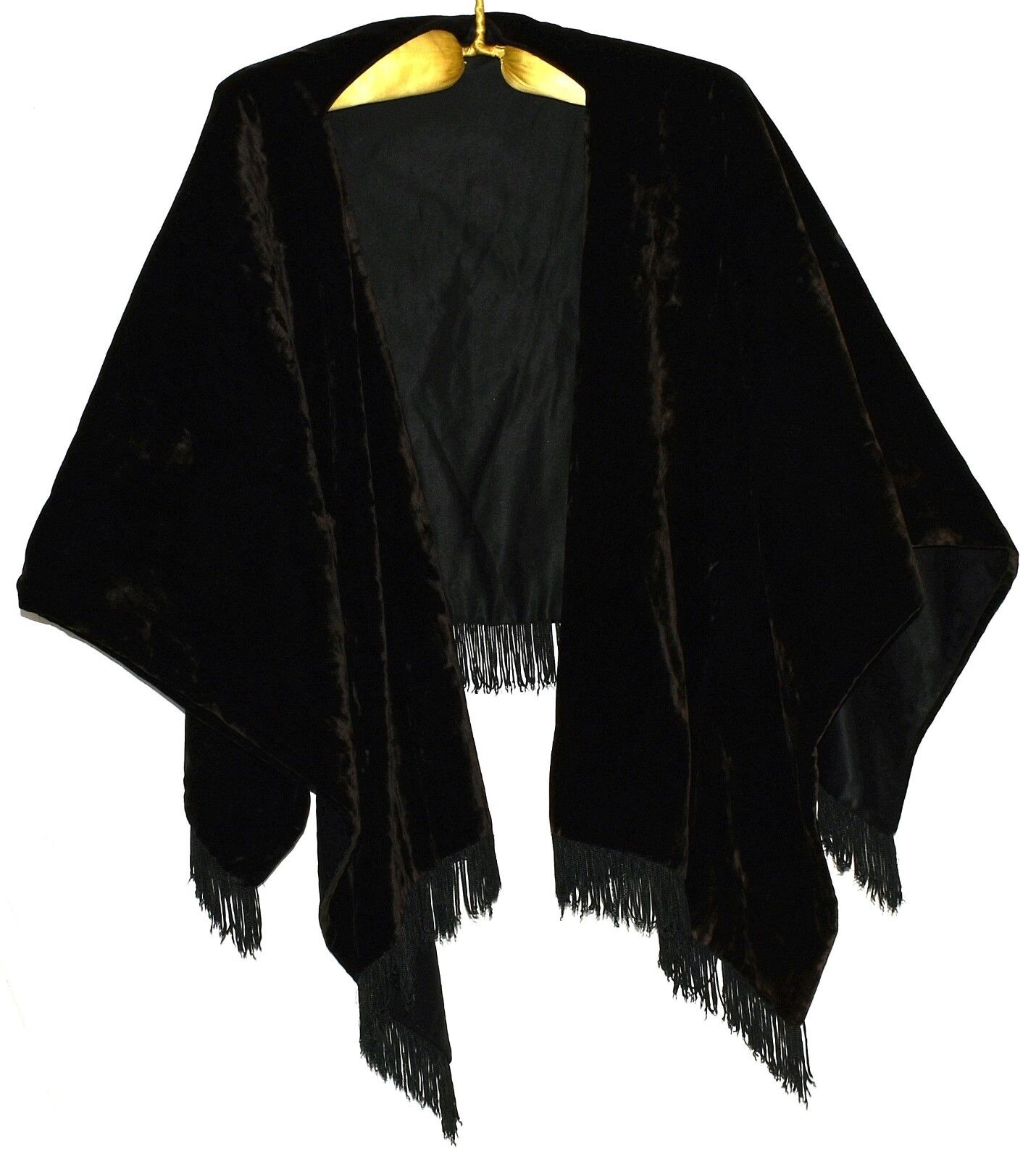 Antique 1890s Vintage Victorian Black Velvet Fully Lined Shawl with 2
