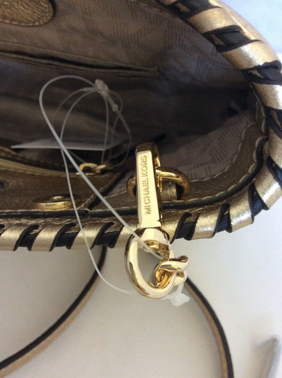 efb8a4c51c26 Michael Kors Rosalie Pale Gold LG Leather Clutch 30S6MS5C3M for sale online
