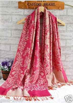 Elegant Women's Double Side Hot Pink Floral 100% Pashmina Stole Scarf Shawl Wrap