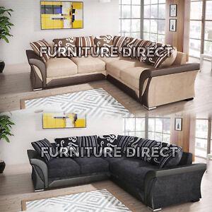 New Shannon Chenille Leather Fabric Sofa Corner Grey Brown Foam