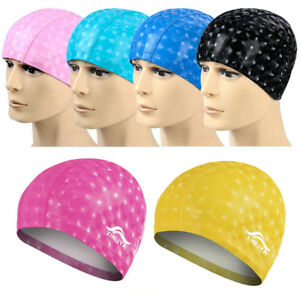 756fdef2ed1e Image is loading 7Colors-Unisex-Waterproof-Swim-Cap-Flexible-Sporty-Latex-