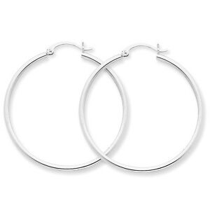 Details About New 14 Karat White Gold Large Clic Hoop Earrings 50 Mm Pure 14k 2 9 Grams
