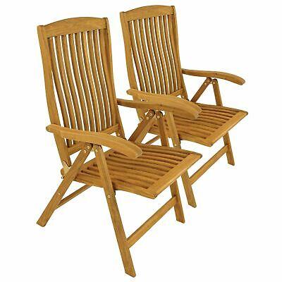 2 x Gartenstuhl Hochlehner 5 fach verstellbar Position Chair Holz Akazie Balkon   eBay