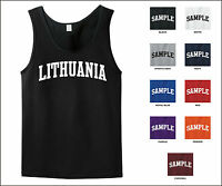 Country Of Lithuania College Letter Tank Top Jersey T-shirt