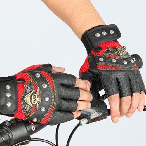 PU Leather Skull Punk Driving Motorcycle Bike Fingerless Gloves For Men Women