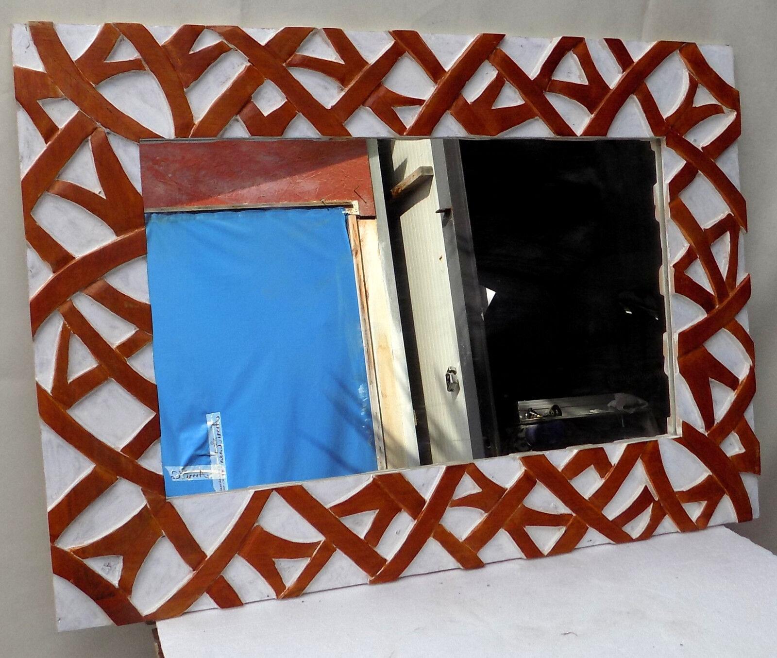 Spiegel in Holz Intarsien Abgelagert cm 100x70 Weiß Braun Spiralen Erleichterung