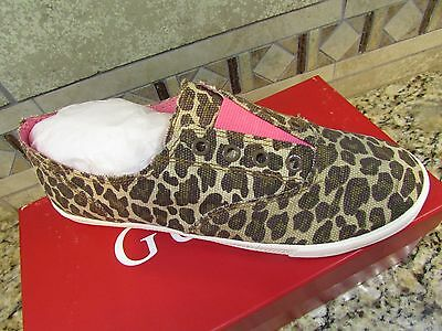 NEW GUESS LEOPARD PRINT LACELESS SNEAKERS SHOES WOMENS 7.5 TUCCI FREE SHIP!