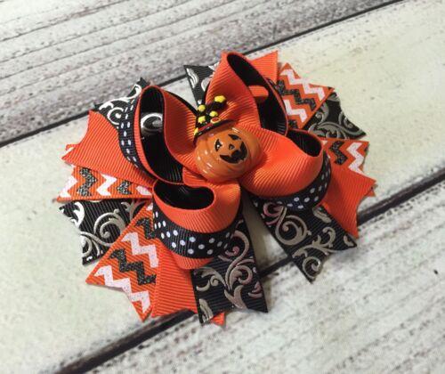 Handmade Orange And Black Jack O Lantern Halloween Stacked Boutique Hair Bow