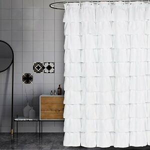 Image Is Loading Volens White Shower Curtain Fabric Ruffle For Bathroom