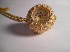 XANADU GOLDTONE Chain Rhinestone Crystal DISCO Ball Clock Watch Pendant Necklace