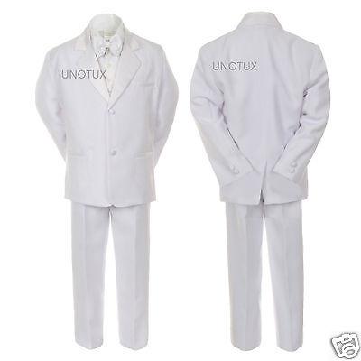 New Boy Wedding Baptism Communion White Tuxedo Suit S M L Xl 2t 3t 4t 5 6 7 8-20