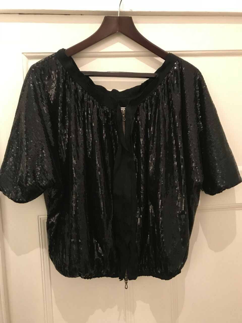 NEARLY NEW - Genuine LANVIN Sequin Zip Front Top - schwarz - Größe 40