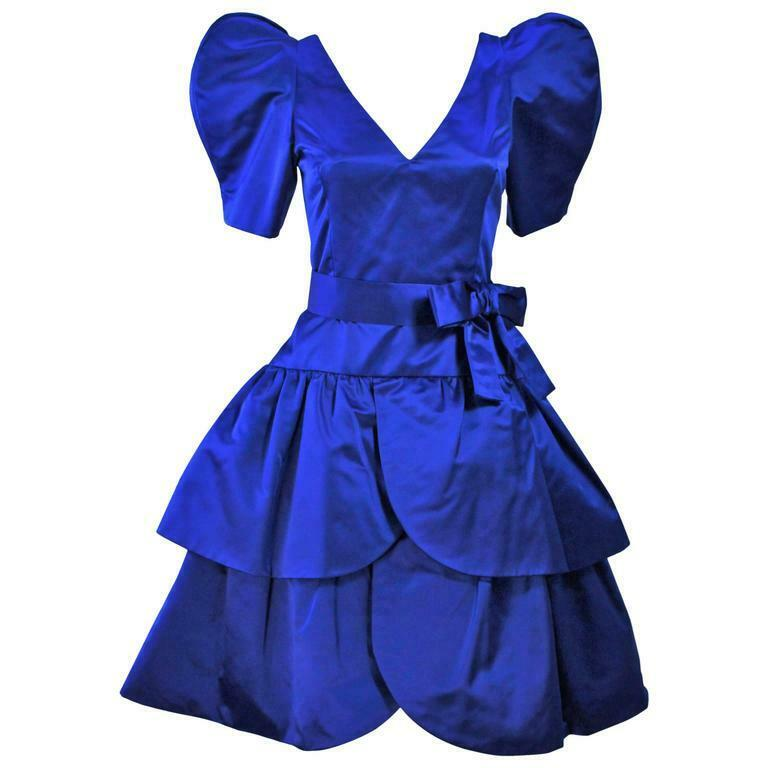 ARNOLD SCAASI Blue Satin Cocktail Dress with Bow … - image 1
