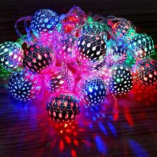 20 LED BATTERY OPRATED SILVER BALLS FAIRY STRING LIGHTS WEDDING PARTY DECORATION
