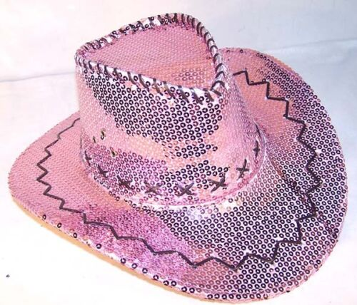 SEQUIN PINK COWBOY HAT party supply western dance hats  WOMEN LADIES cowgirl new