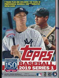 2019-Topps-Baseball-Series-1-MLB-Trading-Cards-7pk-1-Patch-Relic-Blaster-Box