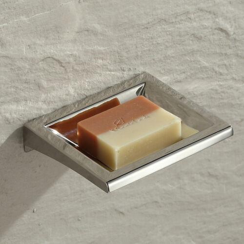 Bathroom Bath Hand Soap Dish Holder Wall Mount Hanger Chrome Stainless Steel 304