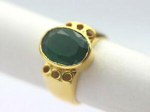Handmade Emerald Ring 3.55 ct Natural Zambian Gemstone 18K Yellow Gold Jewelry