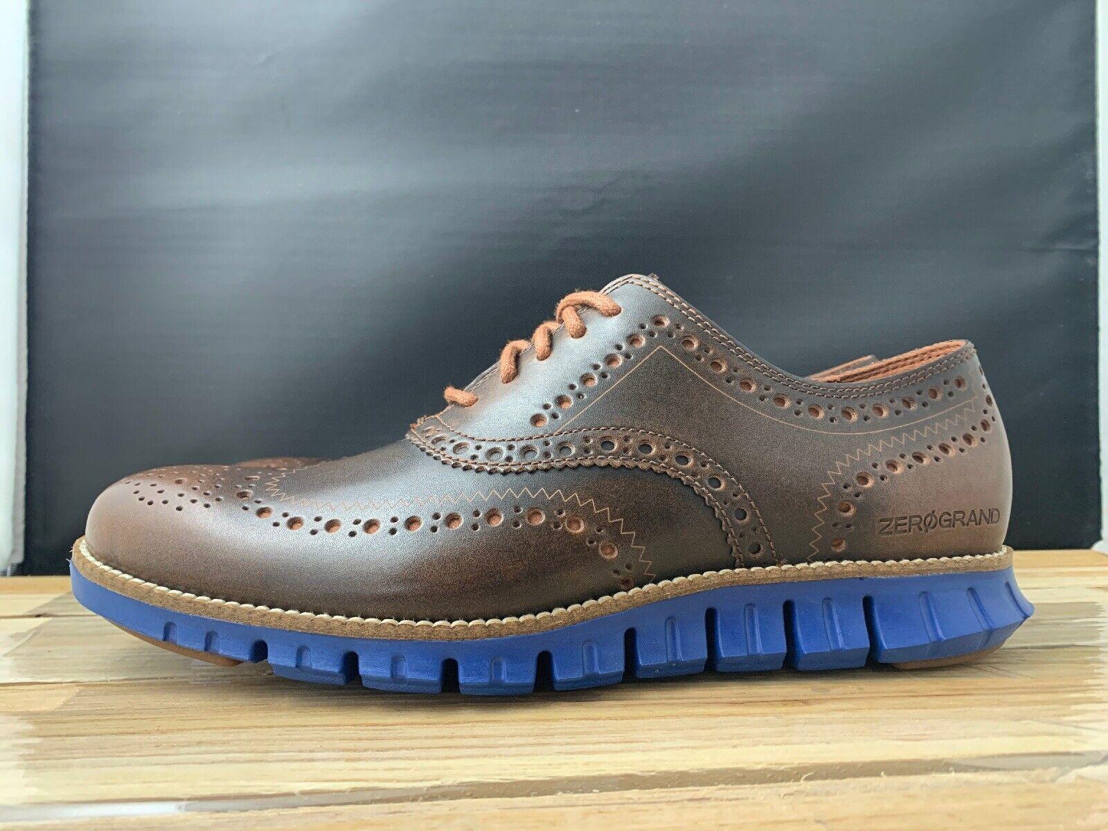 Cole Haan Para Hombre Oxfords marrón Woodbury ZEROGRAND punta del ala azul C26207 Talla 7