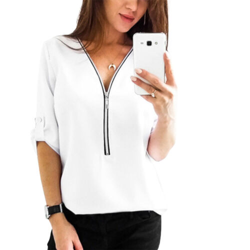 Women Zip up V-Neck Long Roll Sleeve Tops T-Shirt Blouse Summer Tops Plus Size