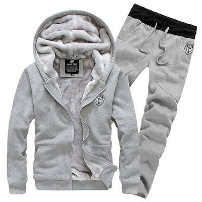 Set Warm Men Hoodie Sweater Suit Winter Velvet Tracksuit Jogging Trousers Pant