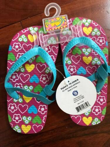 CHATTIES TODDLER /& LITTLE  GIRL ADORABLE FLIP FLOPS WITH BACK STRAPS 5t to 12